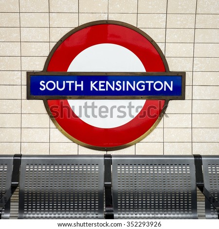 25 April 2012: The identifying sign for the London Underground (tube) station on a platform at South Kensington Station on the Piccadilly Line.