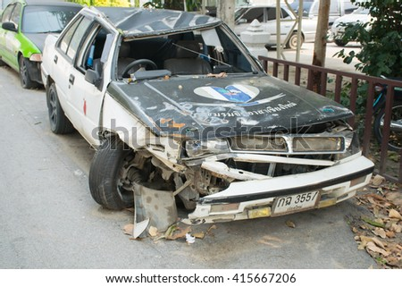 1 APRIL 2016 ; The image of crashed cars at used car park , Chiangmai Thailand