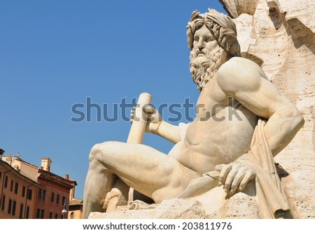 Architectural detail of fountain in Piazza Navona, Rome (Italy) - stock photo