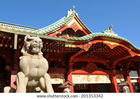 Architectural detail of traditional Japanese temple in Asakusa, Tokyo - stock photo