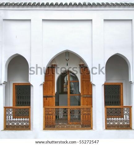 architecture of a moroccan riad - stock photo