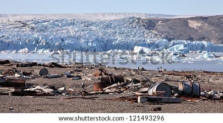 Arctic coast pollution - stock photo