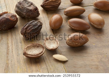 Argan nuts and nutshells - stock photo