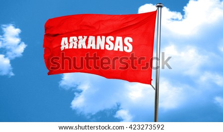 arkansas, 3D rendering, a red waving flag - stock photo