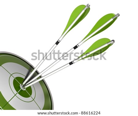 3 arrows hitting the center of a green target 3d render isolated white background, border angle of a page - stock photo