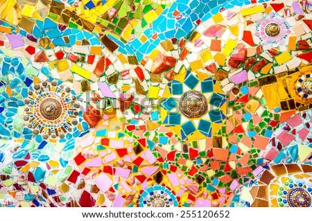 Art mosaic glass on the wall - stock photo