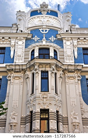 Art Nouveau Building (Jugenstil) in the historic center of Riga, Latvia. Architect Mikhail Eisenstein. - stock photo