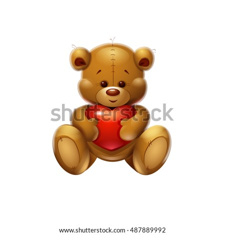 ?artoon icon of a teddy bear. Valentine's Day.