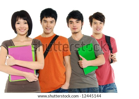 4 Asian casual groups of college students smiling on a white back ground - stock photo