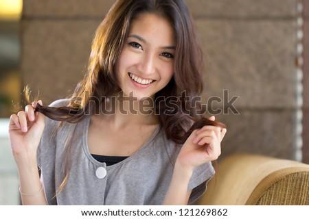 Asian face ,Portrait beautiful woman. - stock photo