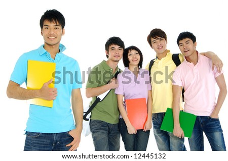 5 Asian happy university students over a white background-focus on girl in pink - stock photo