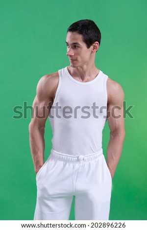 athlete with strong body - stock photo