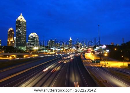 Atlanta skyline by night. Georgia, USA              - stock photo