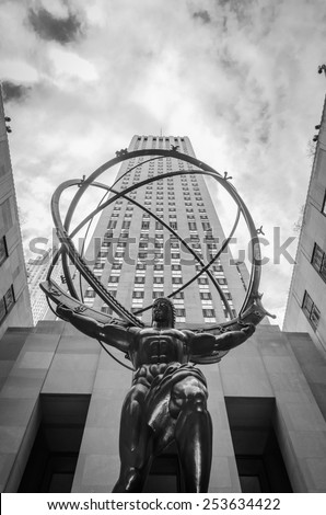 [2013-12-25] Atlas statue in front of Rockefeller Center, NYC facing St. Patrick's cathedral. This 15 feet bronze statue was created by sculptor Lee Lawrie and installed on this location in 1937. - stock photo