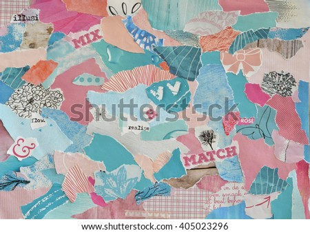 Atmosphere color blue, pink,green,and pastel mood board with teared magazine and printed matter  paper with flowers, heart shape, butterfly, letters, signs,colors and textures - stock photo