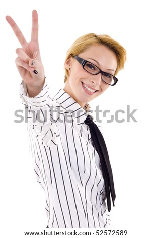 attractive business woman making victory sign over white - stock photo