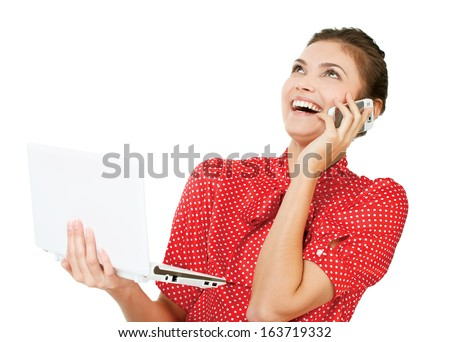 Attractive surprised excited smile business woman  - stock photo