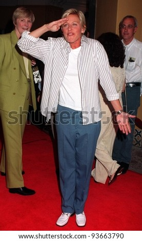 "06AUG97:  Comedienne ELLEN DEGENERES at the premiere,  in Los Angeles, of Demi Moore's new movie, ""G.I. Jane."""
