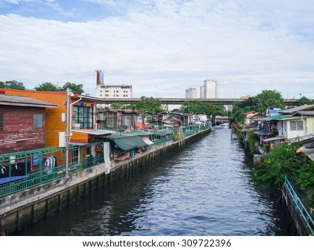 22 AUG 2015, Old community along the San Saeb Canal in Bangkok, Thailand