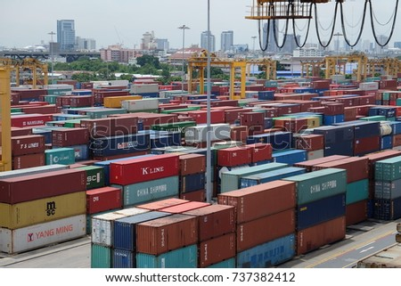 12-August-2017 Bangkok, Thailand. Import and Export shipping containers are stacking at marshaling yard inside the Port of Bangkok (Klong Toei) in order to dispatching to various customers.