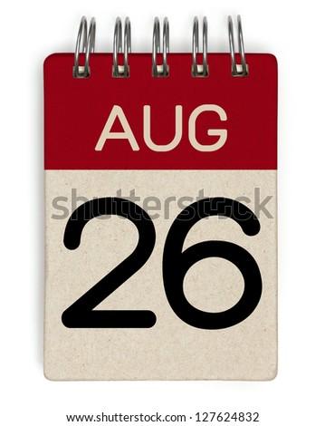 26 august calendar - stock photo