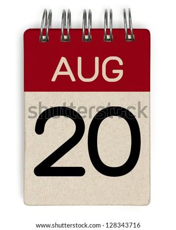 20 august calendar - stock photo
