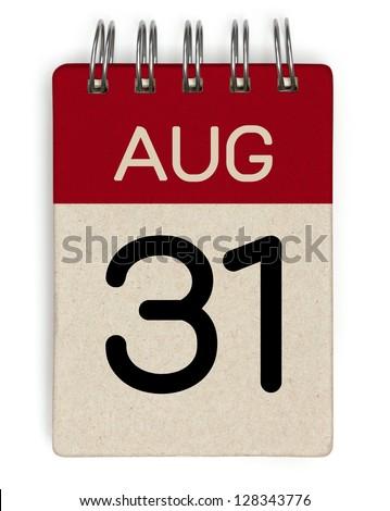 31 august calendar - stock photo