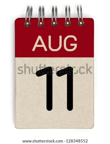 11 august calendar - stock photo