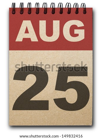 25 August calendar on recycle paper - stock photo