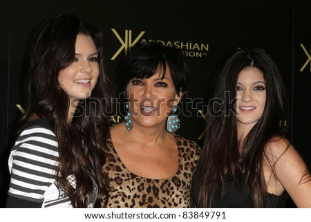 17 August 2011 - Hollywood, California - Kendall Jenner, Kris Jenner, and Kylie Jenner. Kardashian Kollection Launch Party Held at The Colony. Photo Credit: Kevan Brooks/AdMedia - stock photo