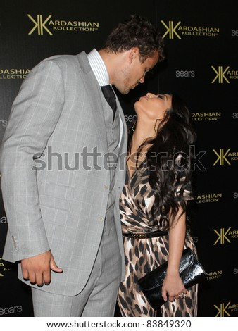 17 August 2011 - Hollywood, California - Kris Humphries and Kim Kardashian. Kardashian Kollection Launch Party Held at The Colony. Photo Credit: Kevan Brooks/AdMedia - stock photo