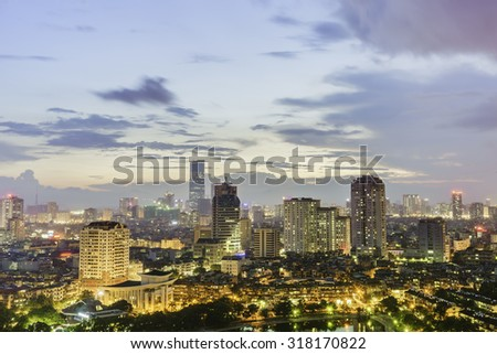 07 August 2015 in Hanoi Vietnam, Aerial view of Hanoi cityscape at twilight. Badinh district