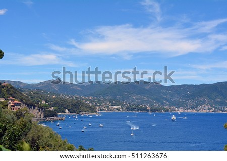 6 August 2016 Natural landscape with boats in the water in Portofino, Italy.