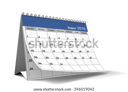 2016 August page of a desktop calendar is on isolated white background with drop shadow. 3D Rendering. - stock photo