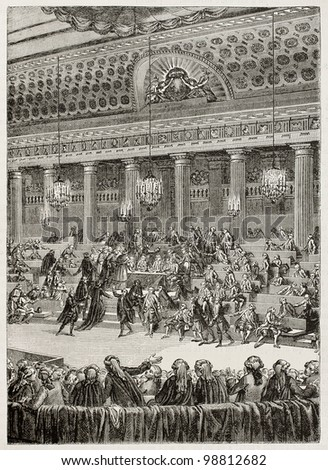 4 August 1789, the night of privilege abolition, French Revolution. Created by Monnet, published on Magasin Pittoresque, Paris, 1882 - stock photo