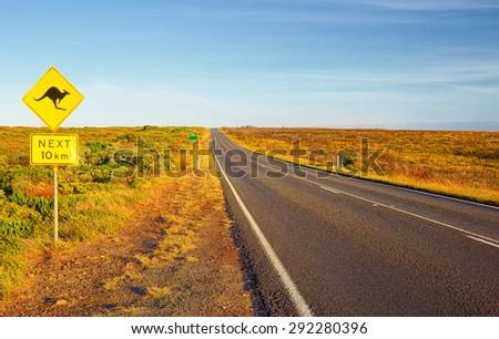 Australia. Great Ocean Road. Sign of kangaroos - stock photo