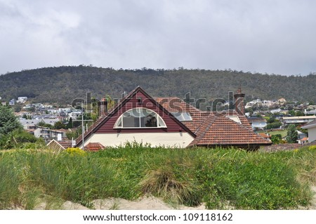 Australian house on the beach - stock photo