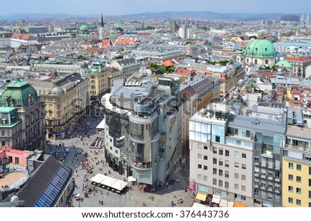 Austria. Top-view of Vienna in a sunny summer day