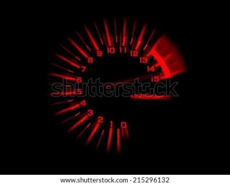 automobile tachometer on black background speedometer - stock photo
