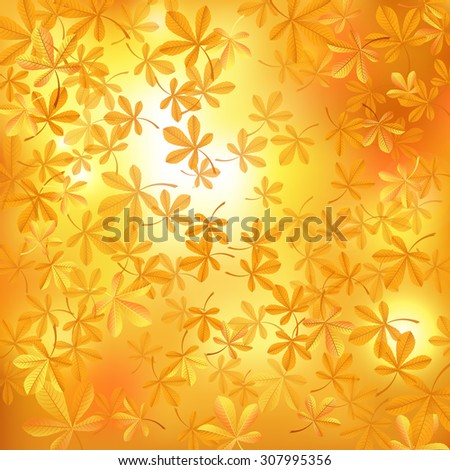 Autumn background with chestnut leaves. Raster version - stock photo