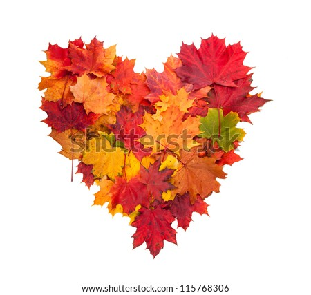 Autumn heart symbol isolated on white background - stock photo