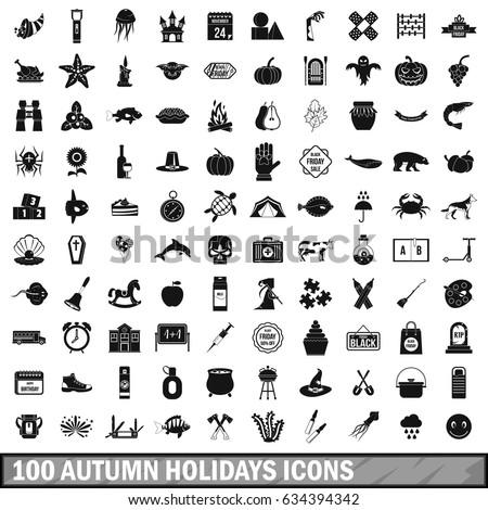 100 autumn holidays icons set in simple style for any design  illustration
