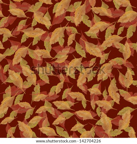 autumn tossed or falling leaves hand painted textured original seamless art - stock photo