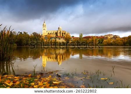 Autumn view of Tormes River in Salamanca.   Spain  - stock photo