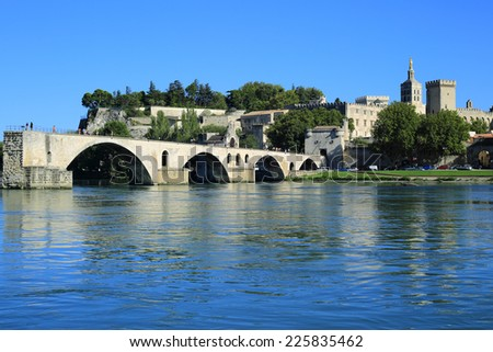 Avignon Bridge with Popes Palace, Pont Saint-Benezet, Provence, France  - stock photo