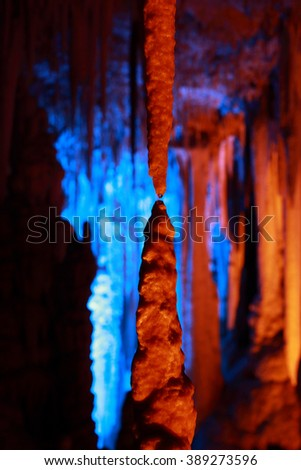 Avshalom Cave (Soreq Cave), a Stalactites Cave in Israel - stock photo