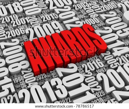 """AWARDS"" 3D text surrounded by calendar dates. Part of a series. - stock photo"