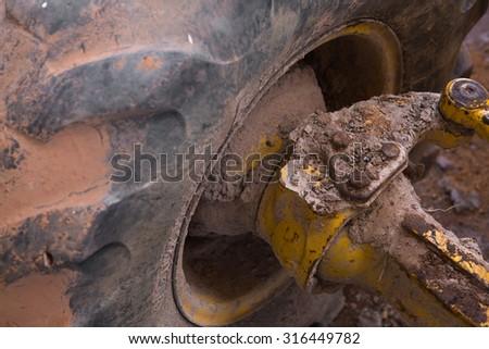 Axle tractors in heavy wheel loader  - stock photo