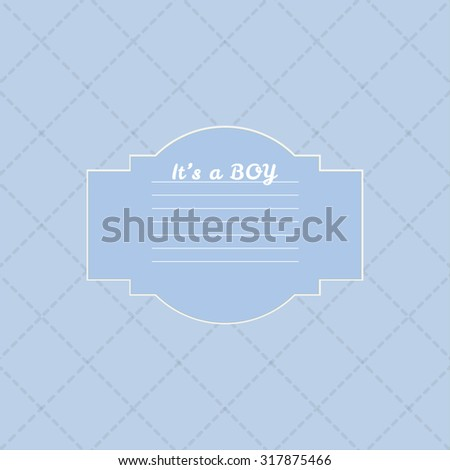 Baby boy shower card. Arrival card with place for your text. - stock photo