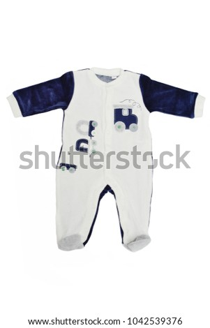 baby cloth - overall over the white background